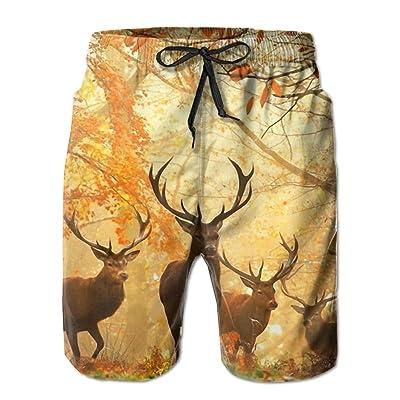 Usieis Deer Surfing Pocket Elastic Waist Men's Beach Pants Shorts Beach Shorts Swim Trunks