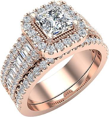 Amazon.com: Impresionante juego de anillos de boda de ...