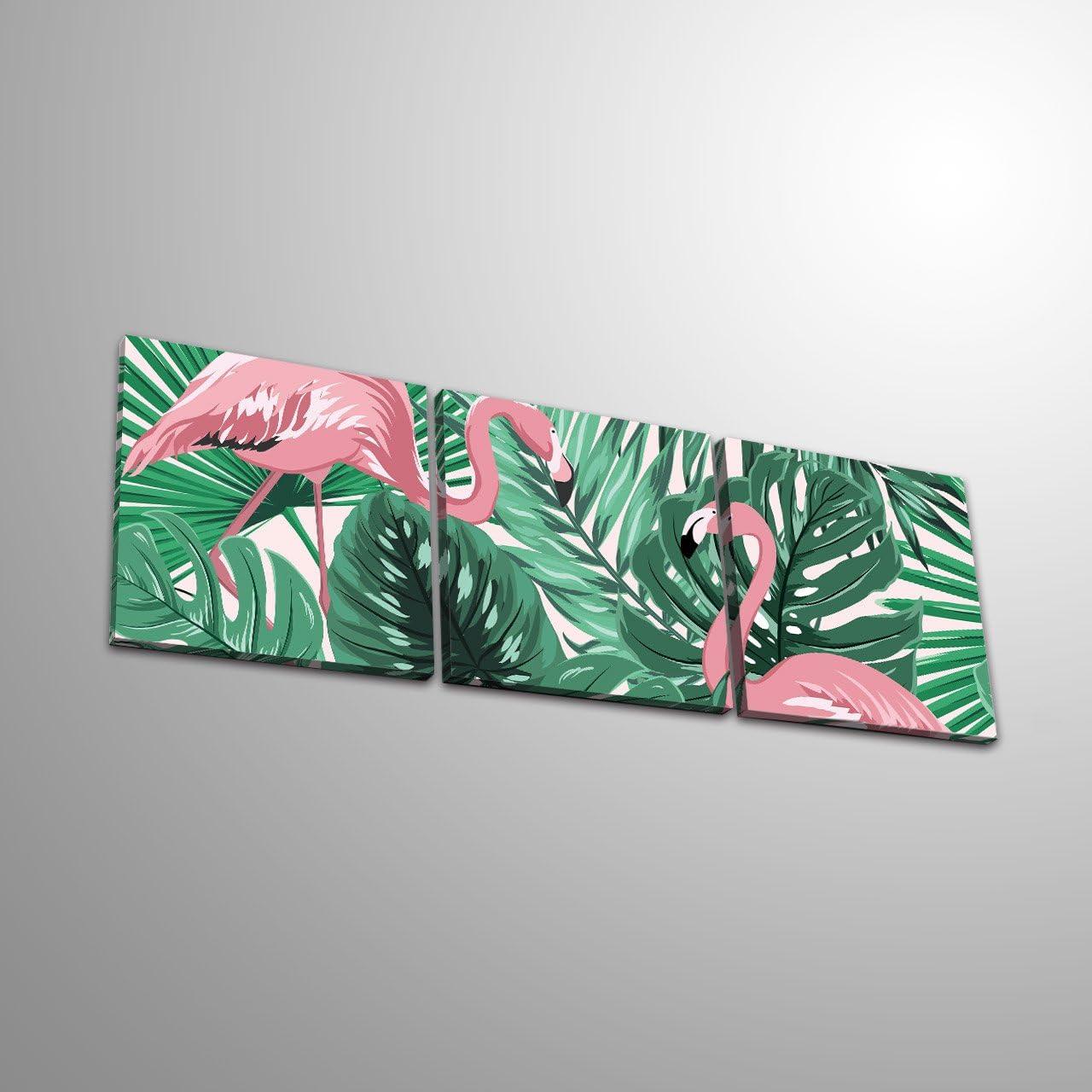 LB Planta Tropical Flamenco/_Cuadro de Pintura al /óleo Moderna Impresi/ón de la Imagen en la Lona Arte de la Pared para la Sala de Estar,Dormitorio,decoraci/ón del hogar,3 Piezas 40x40,con Marco