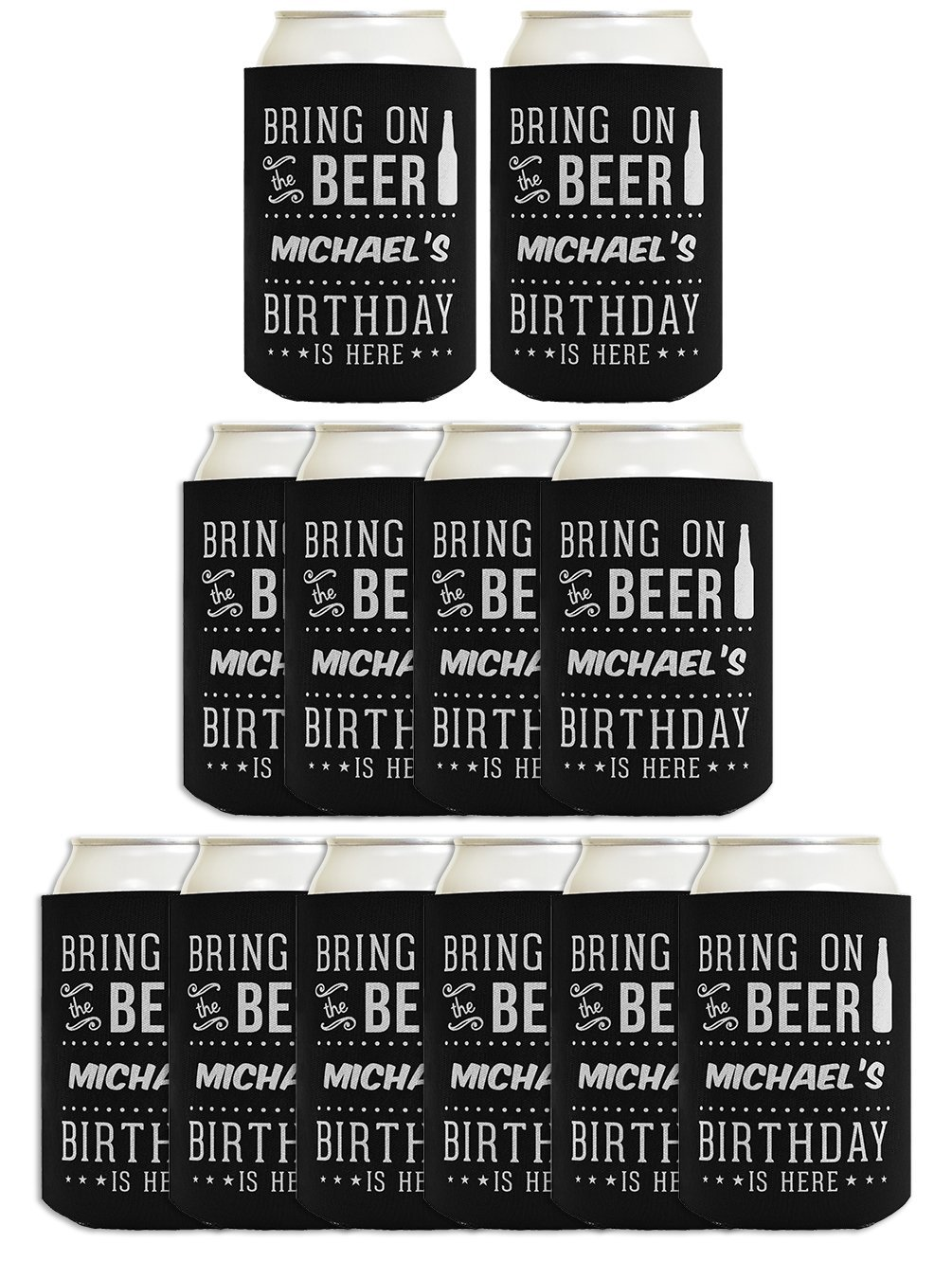 Personalized Birthday Gifts Birthday Coolies 12-pack Custom Can Coolie Drink Coolers Coolies Black by Personalized Gifts