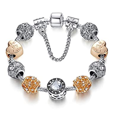 c234ee2f4 JEWH Original Silver 925 Crystal Four Leaf Clover Bracelet with Clear  Murano Glass Beads Charm Bracelet