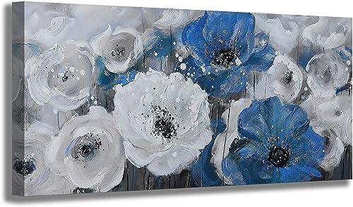Flower Canvas Art Wall Decor Large Wall Art Living Room Wall Decor Abstract White Blue Flower Prints Artwork Modern Home Decor Framed Wall Art