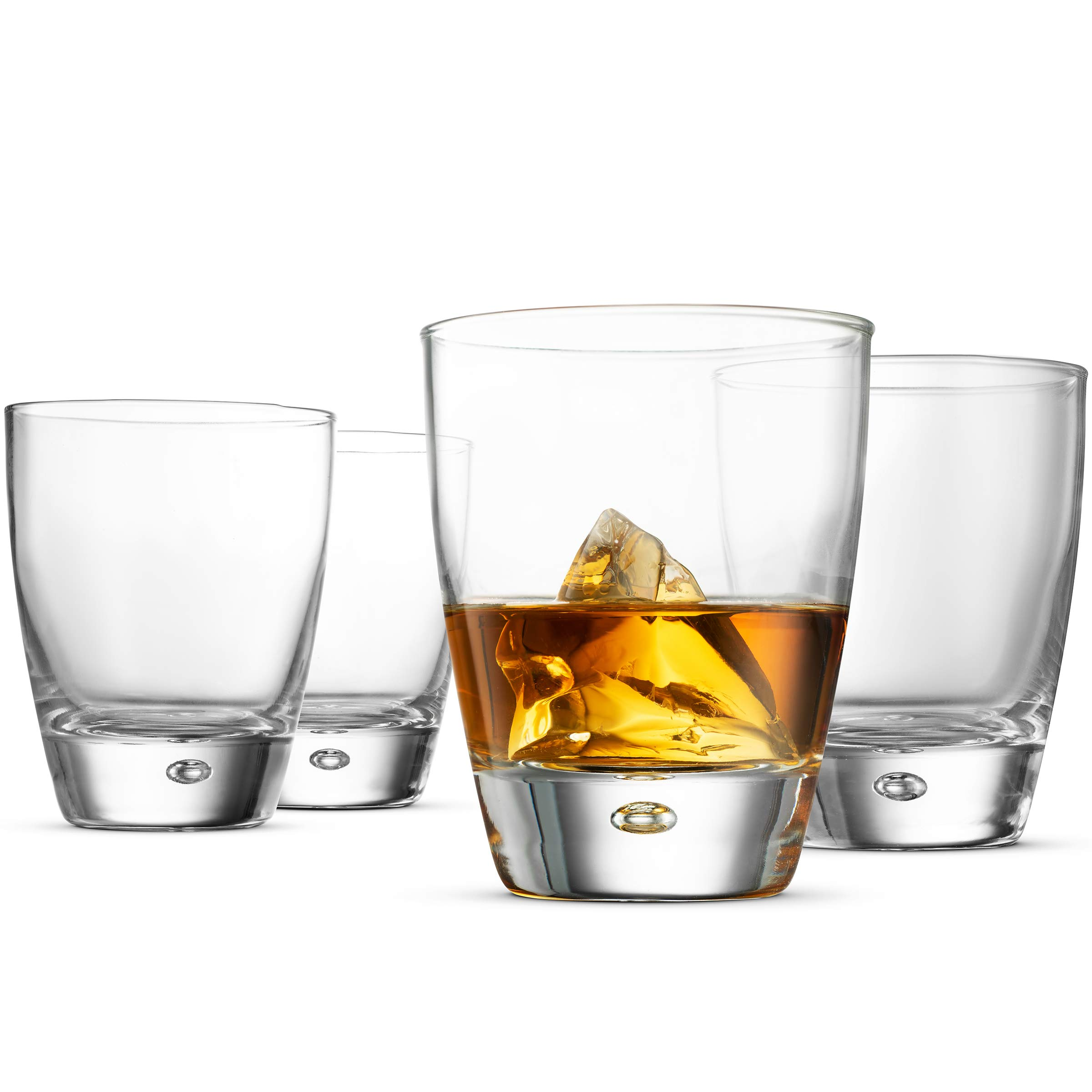 Bormioli Rocco LUNA Double Old Fashioned Whiskey Glasses 11.¾ Ounce (4 Pack) Italian Cocktail Glasses For Whiskey, Bourbon, Scotch, Alcohol, Water, Juice, Large Rock Glasses, Everyday Drinking Glasses