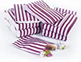 "Purple Candy Stripe Paper Bags - 7"" x 9"" - (1 pack = 100 bags)"