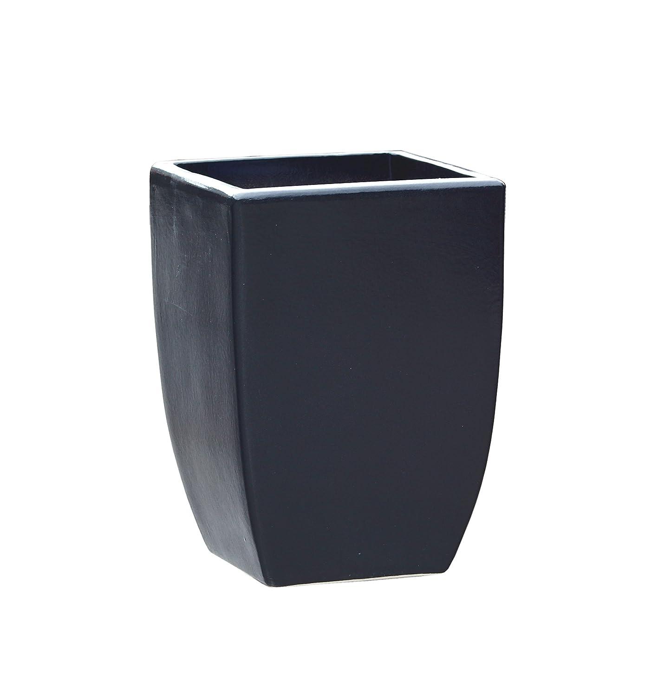 Großer Pflanztopf Pflanzkübel eckig frostsicher Größe L 28 x B 28 x H 39 cm, Farbe Anthrazit, Form 227.039.70 Pflanzkübel quadratisch Qualität von Hentschke Keramik