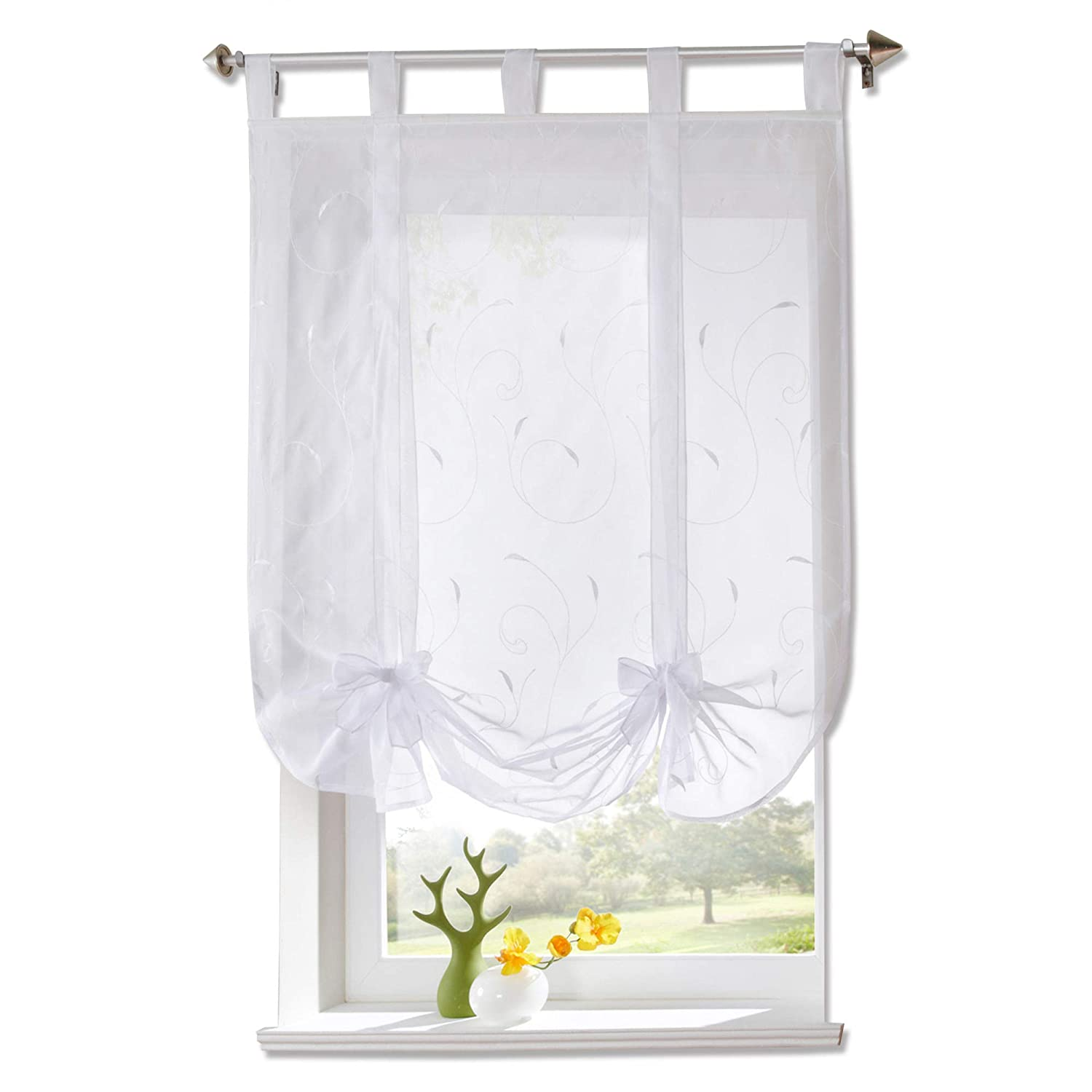 Fyore 1 Pcs Embroidery Roman Shade Tie-up Window Curtain White Valance for Home Décor (White 39x55inch) Canyore