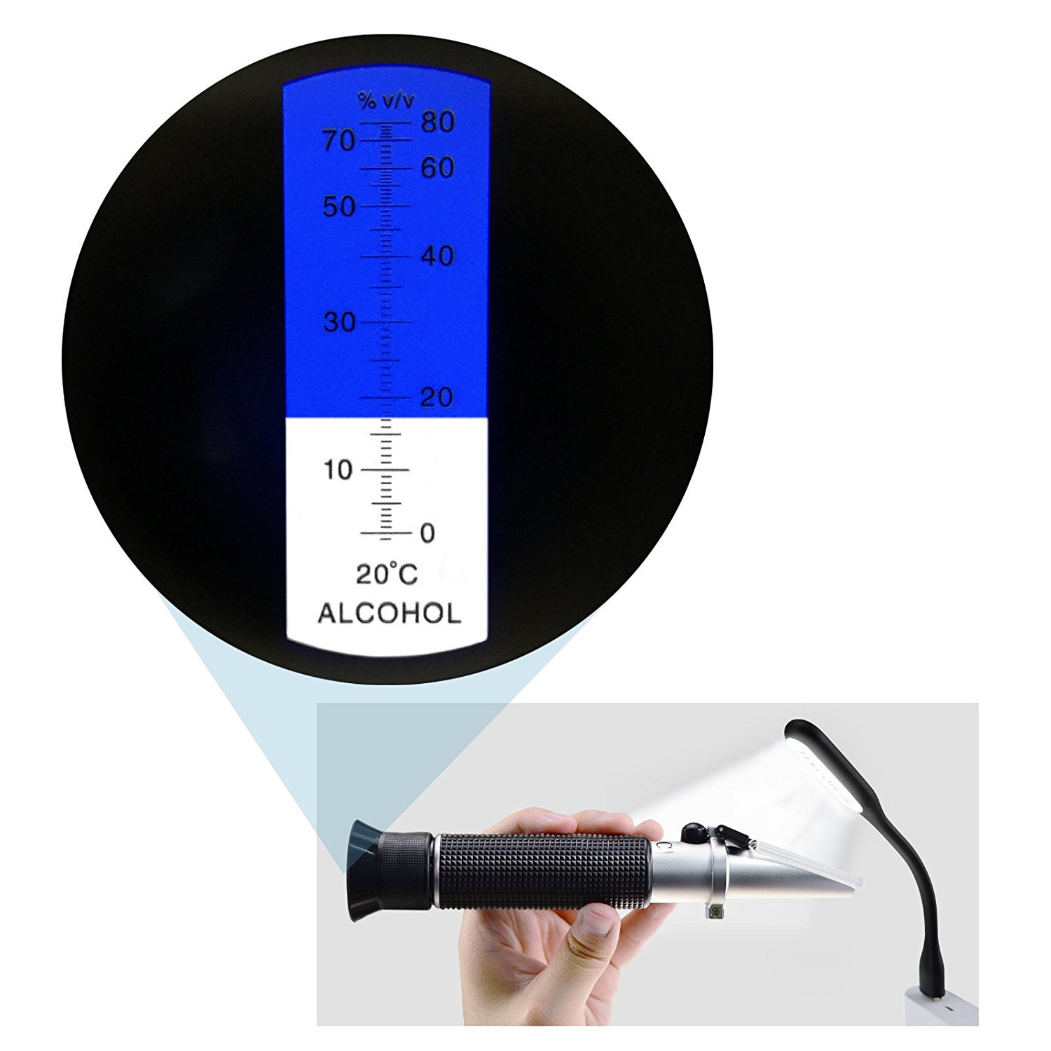 Ethanol with Water Optics Alcohol Refractometer 0-80/% Volume Percent ATC Winemakers for Alcohol Liquor Production with Extra LED Light /& pipettes Distilled Beverages Spirit Alcohol Measurement
