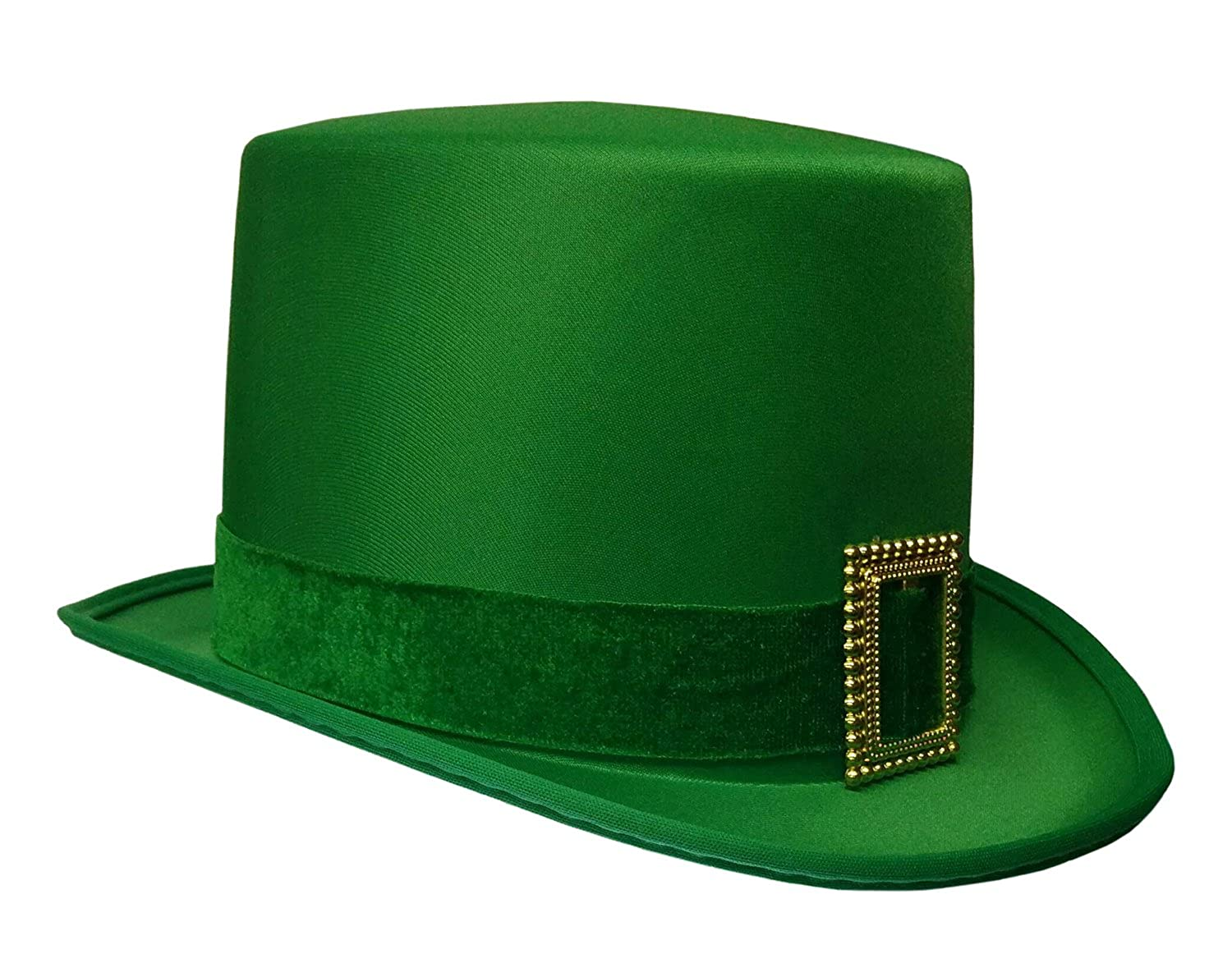 Amazon.com  St. Patrick s Day Leprechaun Green Satin Top Hat with Buckle  Adult Costume Cap  Clothing aa3731f58341
