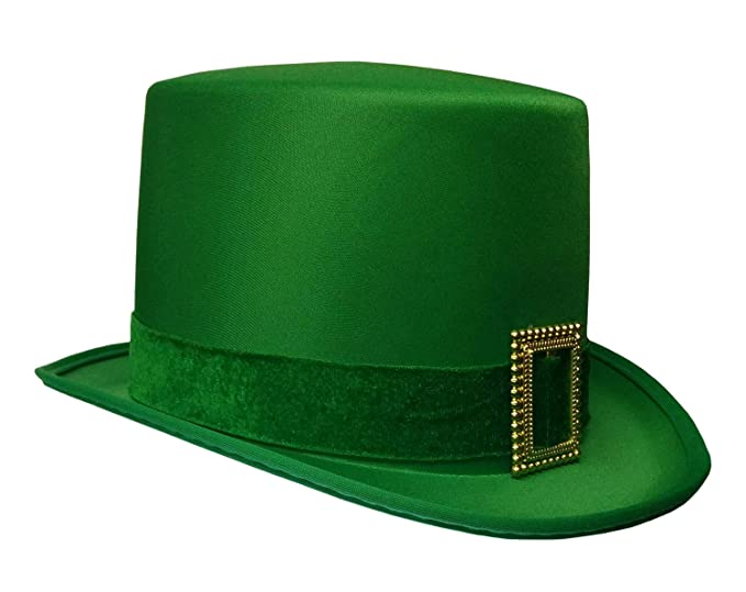 a1978fb4fb3f Image Unavailable. Image not available for. Color: St. Patrick's Day  Leprechaun Green Satin Top Hat with Buckle Adult Costume Cap