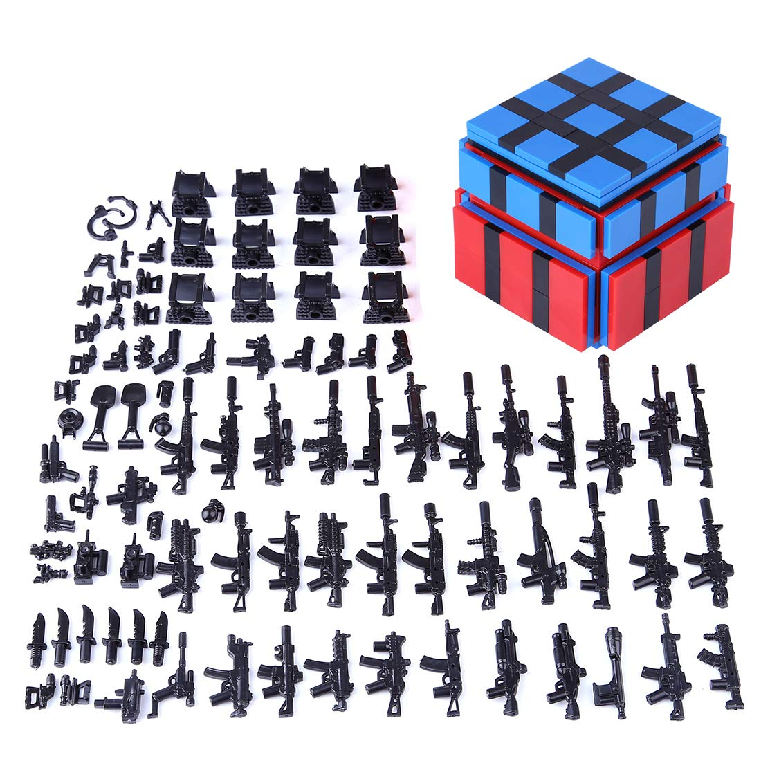 Lingxuinfo Military Army Weapons and Accessories for Brick Figures, Military Weapons Box Building Blocks Toy Compatible with Major Brands