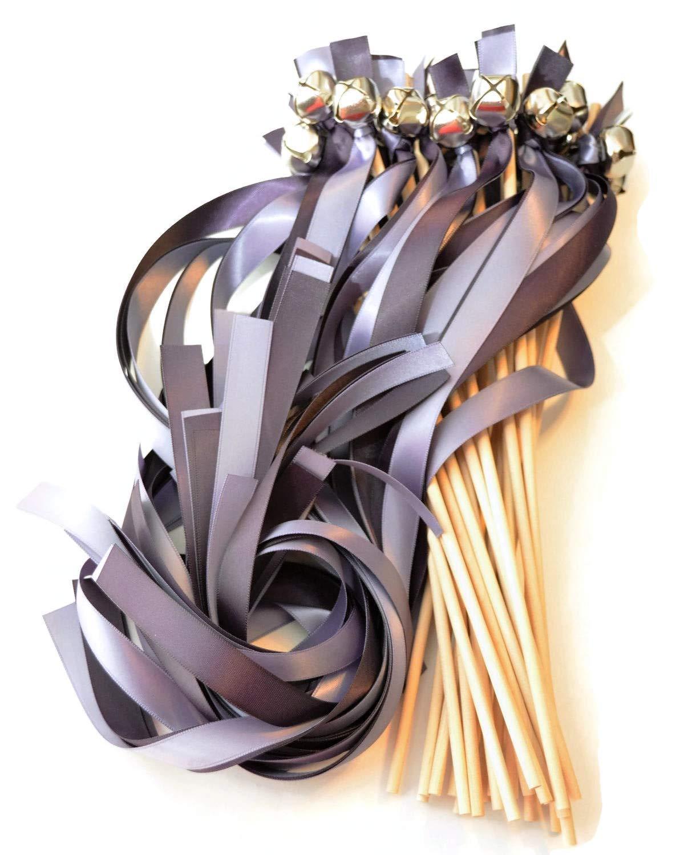 100 Charcoal & Mercury Gray Ribbon Silver Bell Wedding Wands #DivinityBraid #SendOffBells #WeddingWands #Wedding #Favors #CeremonySendOff #Party #KissingBells #RibbonWands