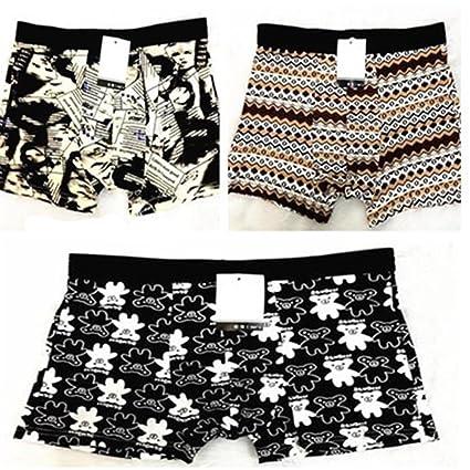 Kaka (TM) hombre Boxer ropa interior dibujos animados patrón transpirable absorbente bragas 3-
