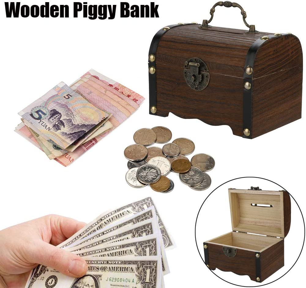 Brown TTINAF Wooden Piggy Bank Handmade Savings Money Box with Metal Lock Vintage Storage Case for Kids Adults Gift