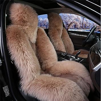 Dielian Australische Schaffell Autositzkissen Abdeckung Auto Sitzbezug Camel Sport Freizeit