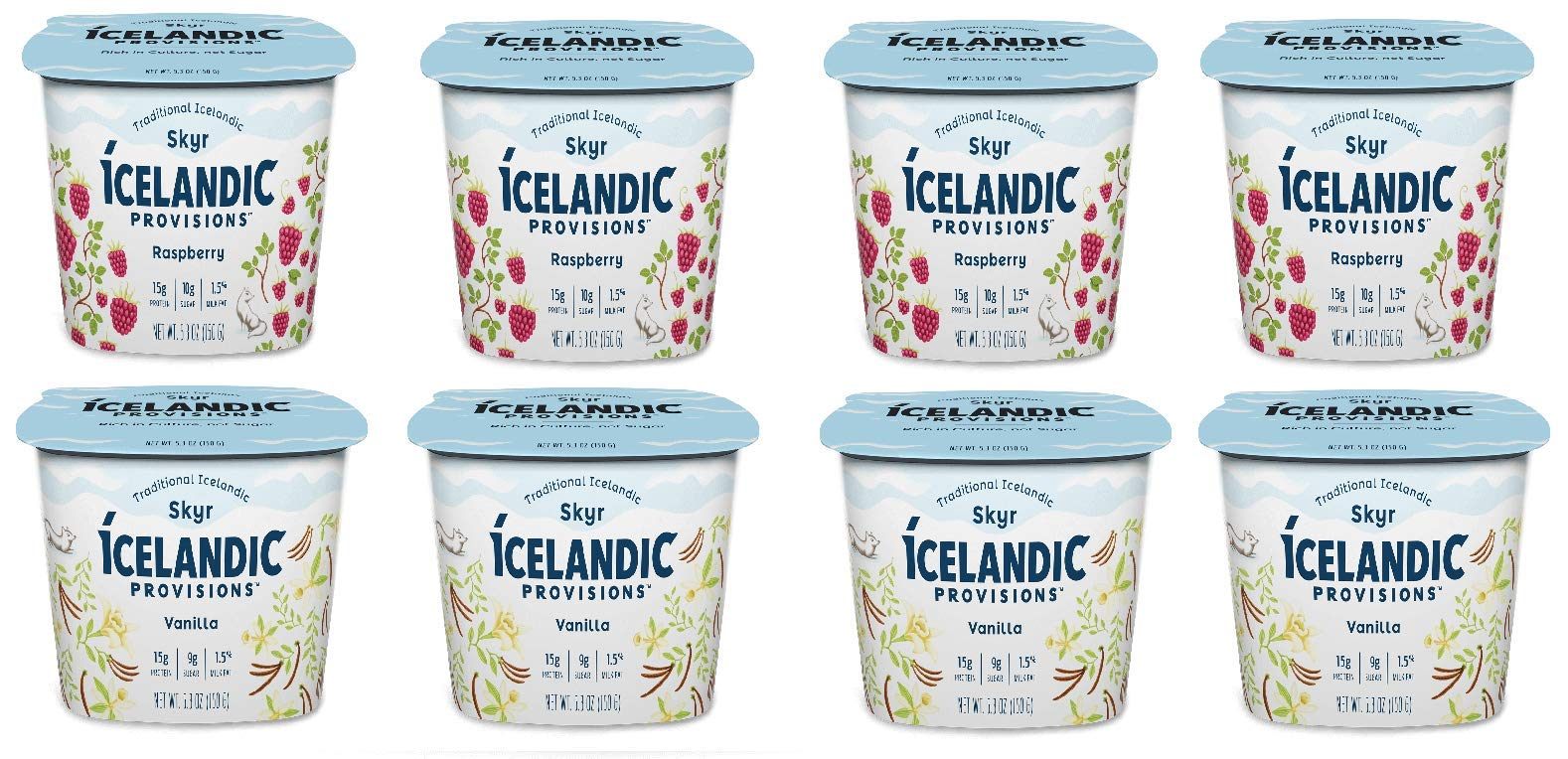 Icelandic Provisions, Skyr Yogurt, Vanilla, Raspberry (Pack of 8)