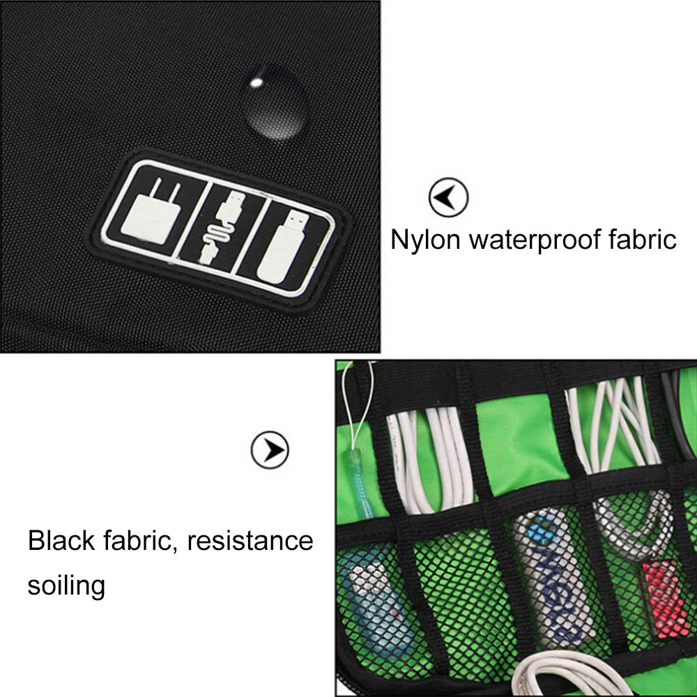 Waterproof Outdoor Travel Kit Nylon Cable Holder Bag,cable tidy bag,cables bag,camera accessories bag,Electronic Accessories usb drive storage case Camping Hiking Organizer Bag,External Hard Drive Carry Case. (black)