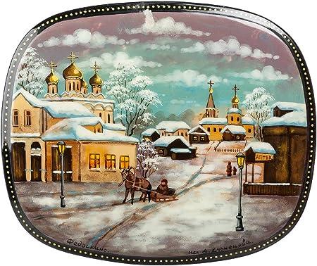 Russian Lacquer Boxes Fedoskino - Caja de Lacado Ruso en miniaturas de Moscú, Caja Decorativa Negra para Almacenamiento, Caja de Regalo, Varios Diseños.: Amazon.es: Hogar