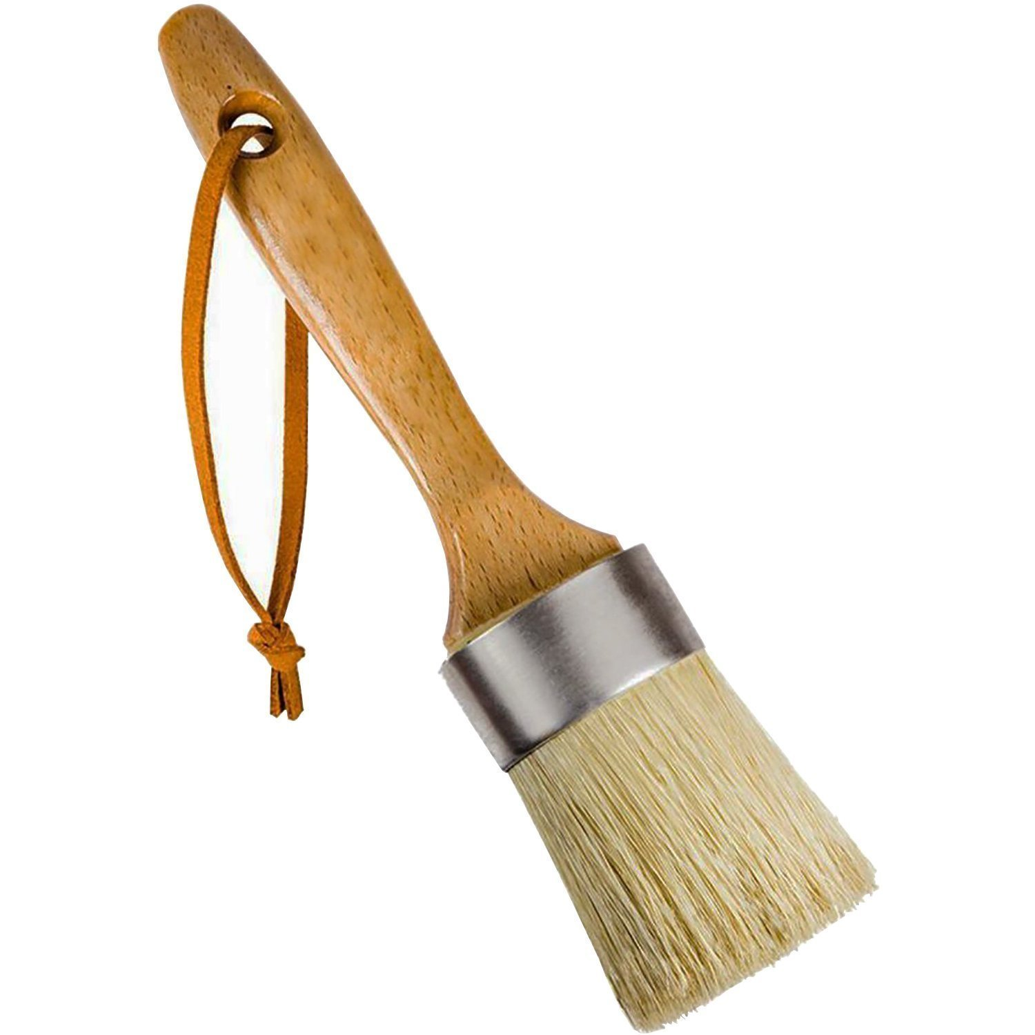 Paint and Wax Brush Tectri 40mm Synthetic Bristle Round Chalk with Natural Bristle and Wooden Handle for Furniture Home Decor Pastry taikeqi
