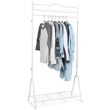 Kleiderständer Weiß Metall homfa kleiderständer kleiderstange garderobenständer mit schuhablage