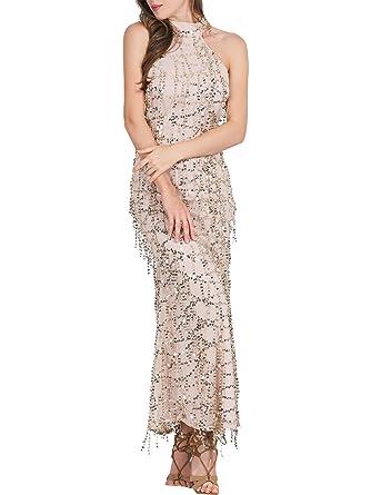 BerryGo Womens Elegant Sequin Tassel Bridemaid Maxi Prom Dress Gold, ...