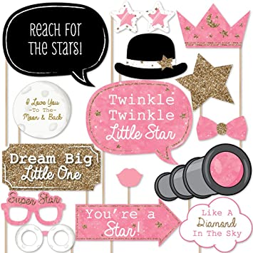 Pink Twinkle Twinkle Little Star   Baby Shower Or Birthday Party Photo Booth  Props Kit