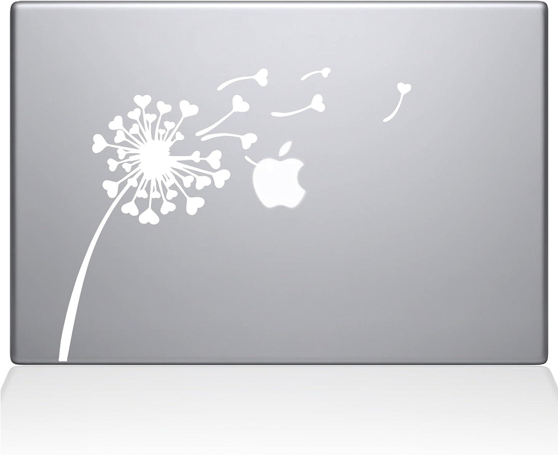 The Decal Guru 2045-MAC-12M-W Dandelion Hearts Decal Vinyl Sticker, White, 12