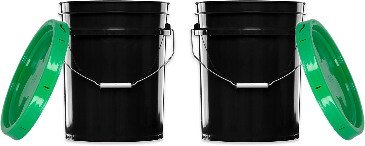 House Naturals 5 Gallon Black bucket pail with Green lids Food grade BPA Free (Pack of 2) Durable 90 Mil All Purpose container