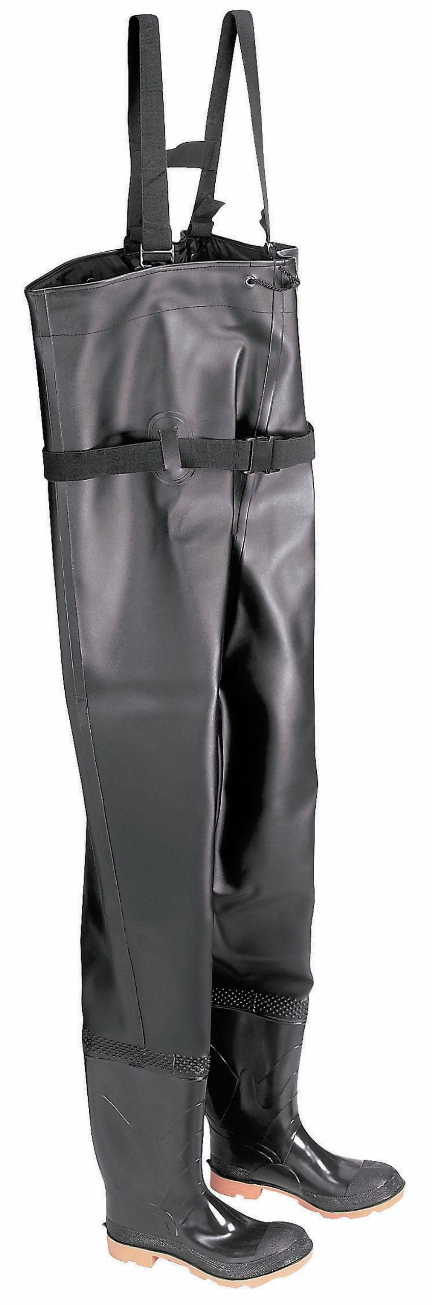 ONGUARD 86066 PVC/Polyester Men's Plain Toe Chest Wader Boots with Cleated Outsole, 56-19/32'' Height, Black, Size 10