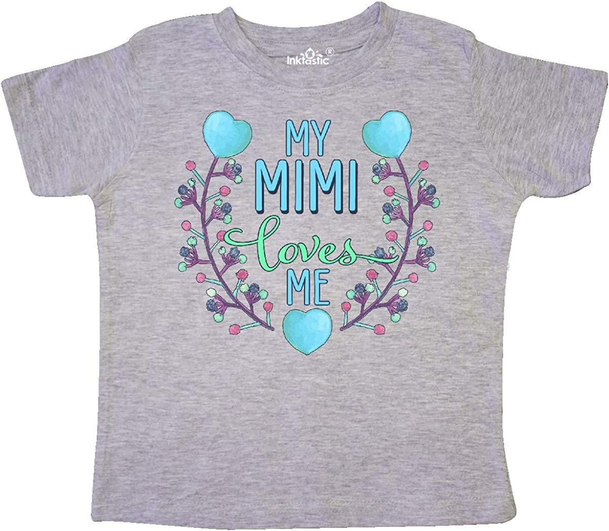 inktastic My Mimi Loves Mimi with Flowers and Hearts Toddler T-Shirt