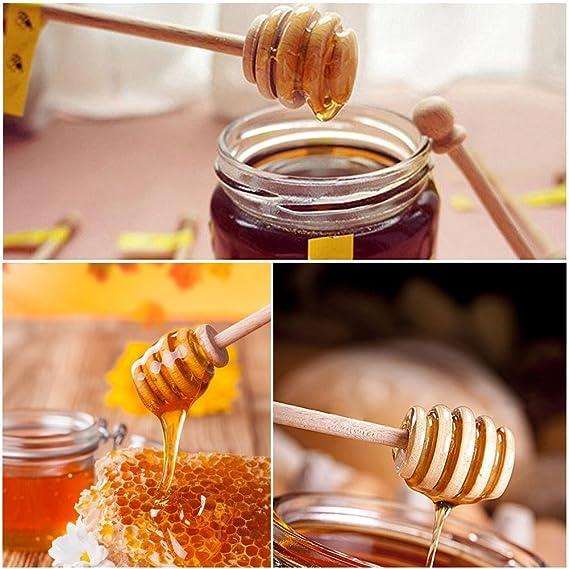 Cuchara madera para miel, Biback madera miel Dippers Sticks servidor de la miel Tarro de miel dispensar llovizna café leche té Remover: Amazon.es: Hogar