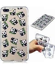 Funda iPhone 7PLUS silicona transparente Ultra-fino TPU suave Carcasa Bumper DECHYI Patrón arte-panda