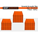 "MMT Acoustix™ Pyramid Soundproofing Studio Acoustic Panel, 1'x1', 2"", MMT Orange, Set of 18"