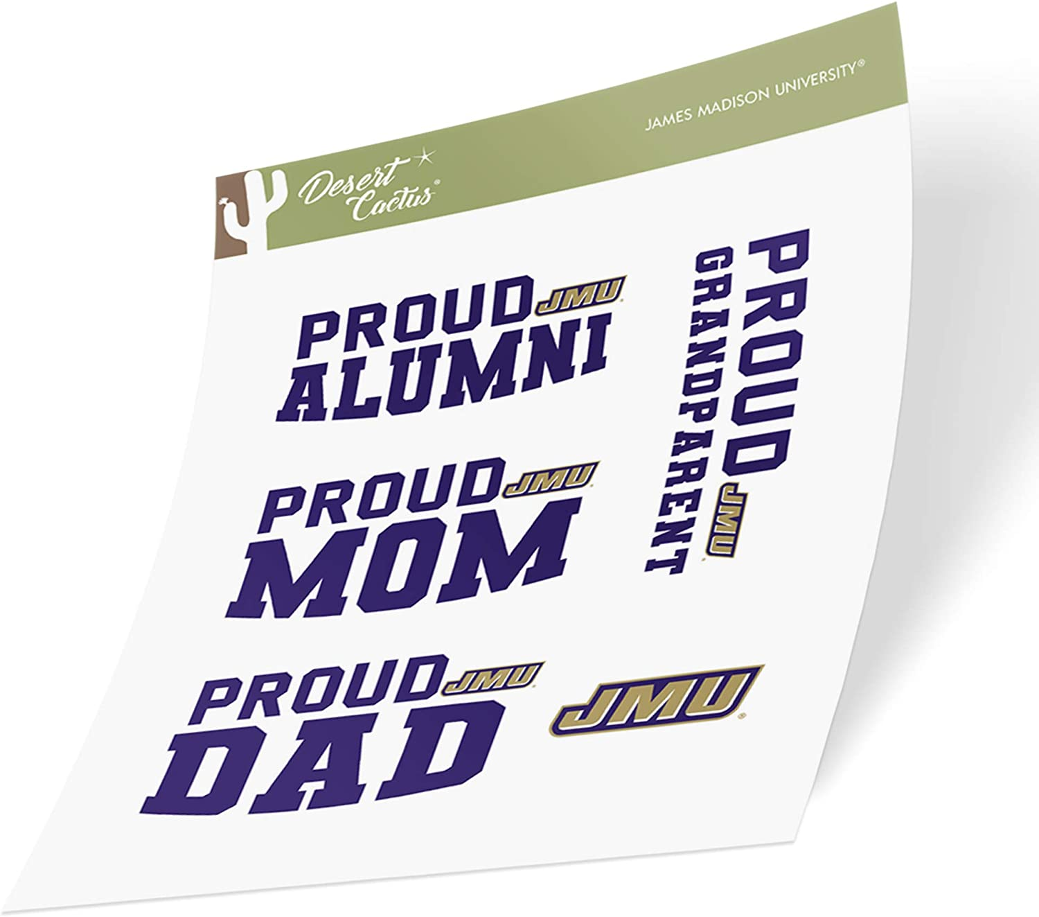 James Madison University JMU Dukes NCAA Sticker Vinyl Decal Laptop Water Bottle Car Scrapbook (Family Full Sheet)
