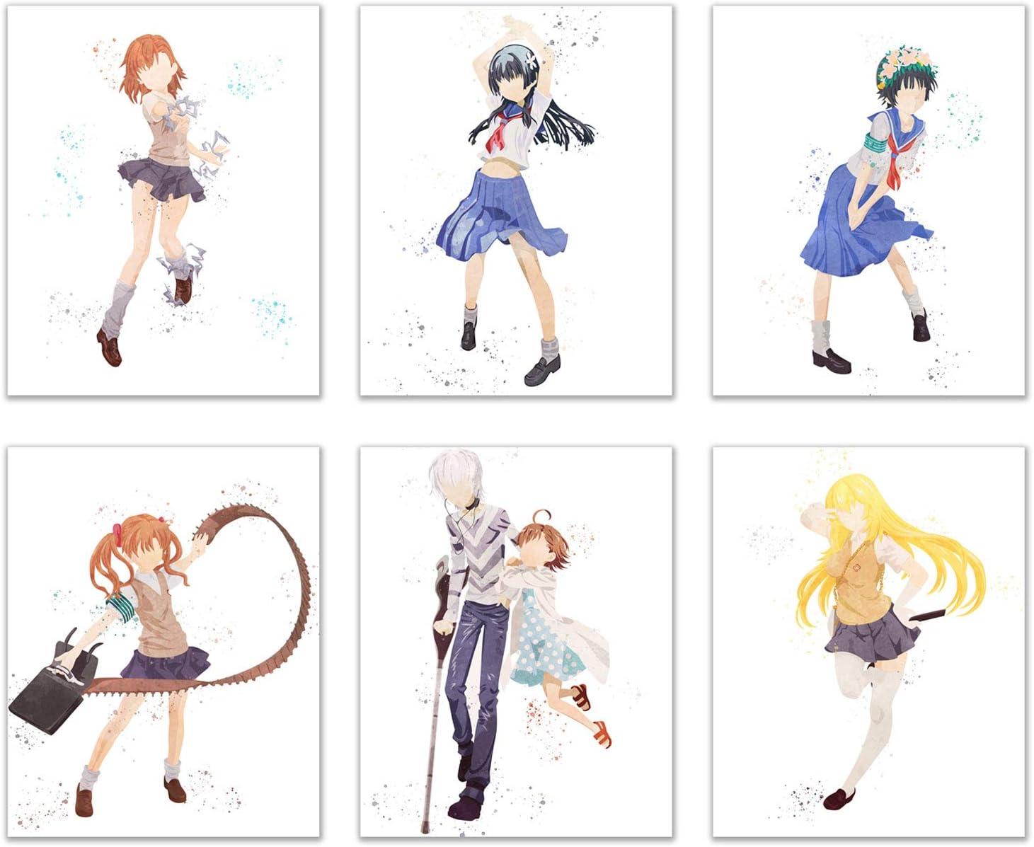 Watercolor Toaru Kagaku no Railgun T Prints - Set of 6 (8x10 Inches) A Certain Scientific Wall Art Decor - Mikoto Misaka - Kuroko Shirai - Ruiko Saten - Misaki Shokuhou - Kazari Uihara - Accelerator -