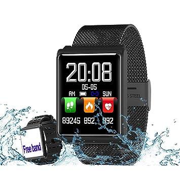 Reloj inteligente Rastreador de ejercicios con ritmo cardíaco monitor de sueño Rastreador de actividad de acero