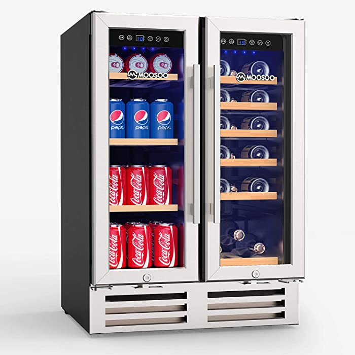 MOOSOO 24 Inch Beverage and Wine Cooler, Dual Zone Wine Refrigerator with Stainless Steel Tempered Glass Door, Quick Cooling Wine Fridge with Temperature Memory Function, 18 Bottles and 57 Cans