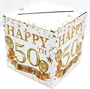 Buildinest 50th Birthday Party Decorations Box – Cheers to 50 Years, 50 Birthday Party Supplies – 1 Set(Box-50-WHT)