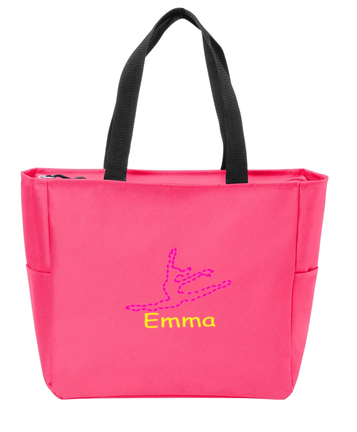 all about me company Essential Zip Tote | Personalized Dance Shoulder Bag (Neon Pink) by all about me company