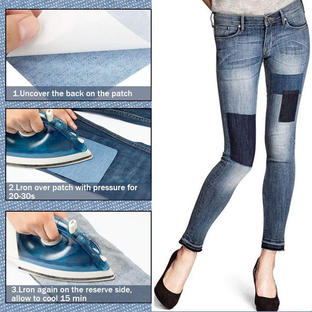 WOWOSS 30Pcs Vetement Tissu Thermocollant 24Pcs Patchs en Denim 6Pcs Patchs Brod/és pour T-Shirt Jeans Sacs Jupe R/éparation Tissu Thermocollant Enfant 6 Couleurs