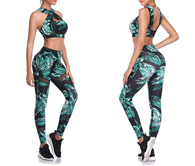 Sports Apparel cant be satisfied Fitness Leggings Sleeveless Running Workout Yoga Training Gym Wear Tight Slim Suit,Black Floral,XL
