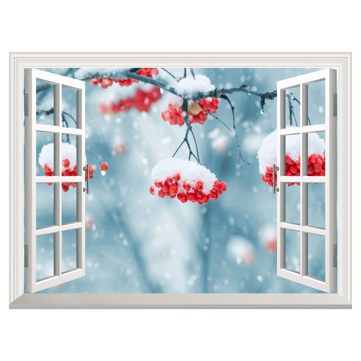 RAIN QUEEN 3D Self-Adhesive Removable Wall Murals Waterproof Winter Snow Window View Landscape Wall Sticker Home Wall Poster 24'' 32'' Snow Flower