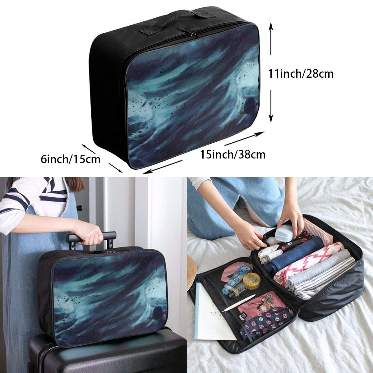 Travel Luggage Duffle Bag Lightweight Portable Handbag Tornado Print Large Capacity Waterproof Foldable Storage Tote