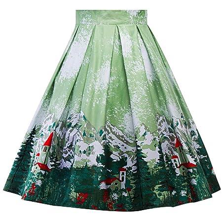 Cvbndfe Cómodo Señoras de Las Mujeres Faldas Midi árbol de Navidad ...
