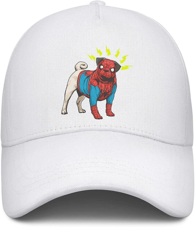 Pug Dog Cosplay Superhero Unisex Baseball Cap Fitted Sport Baseball Caps Adjustable Trucker Caps Dad-Hat
