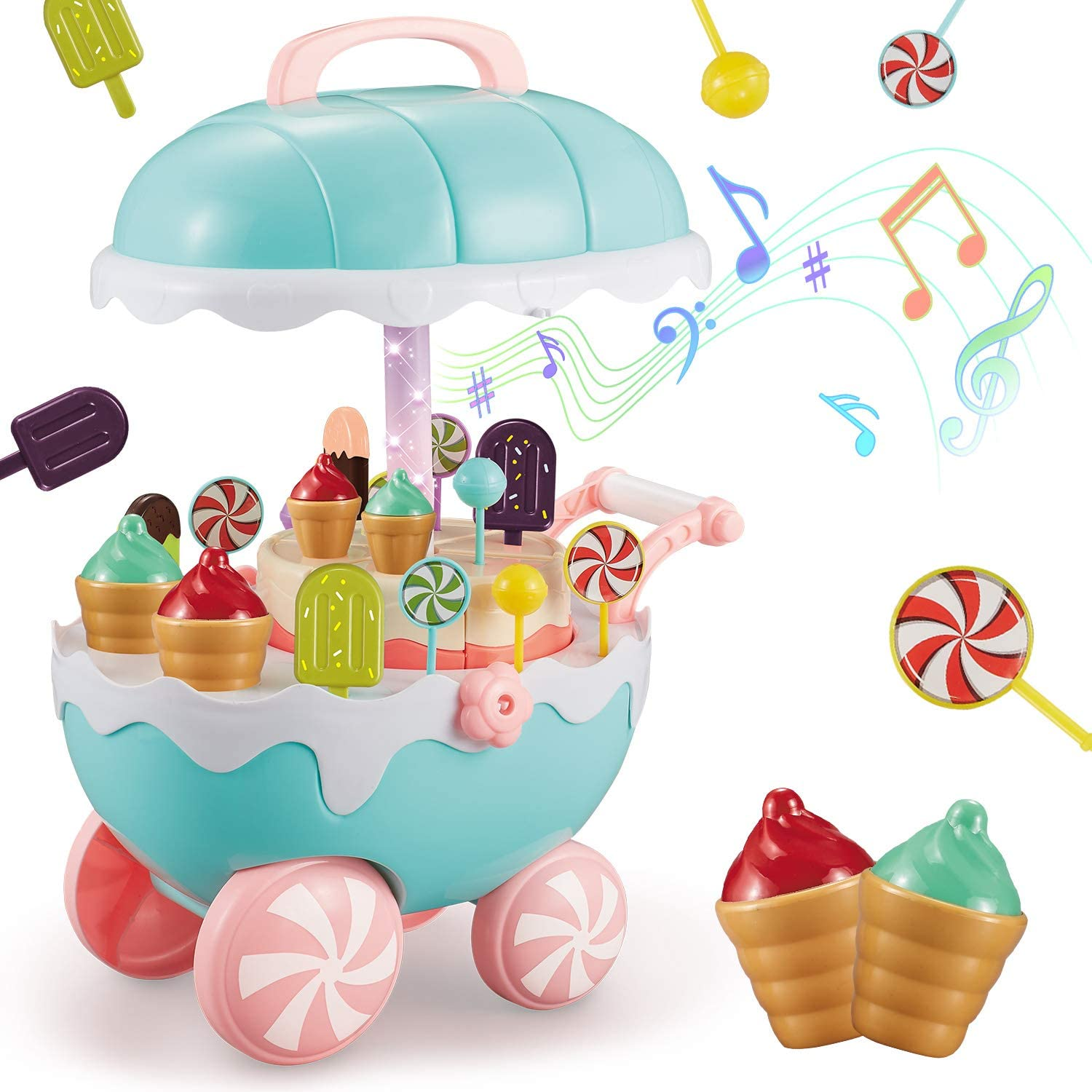 INFANT MOMENT Ice Cream Cart Toys 32pcs Sets, Educational Play Food Ice Cream Truck Toys for Toddlers