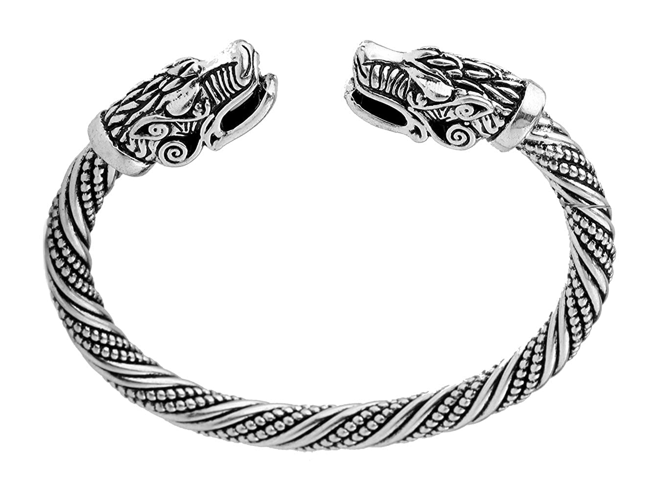 Vintage Viking Double Dragon Head Alloy Jewelry Celtic Knot Cuff Boho Animal Bracelet for Men/Women YiYou B078LZRVVV_US