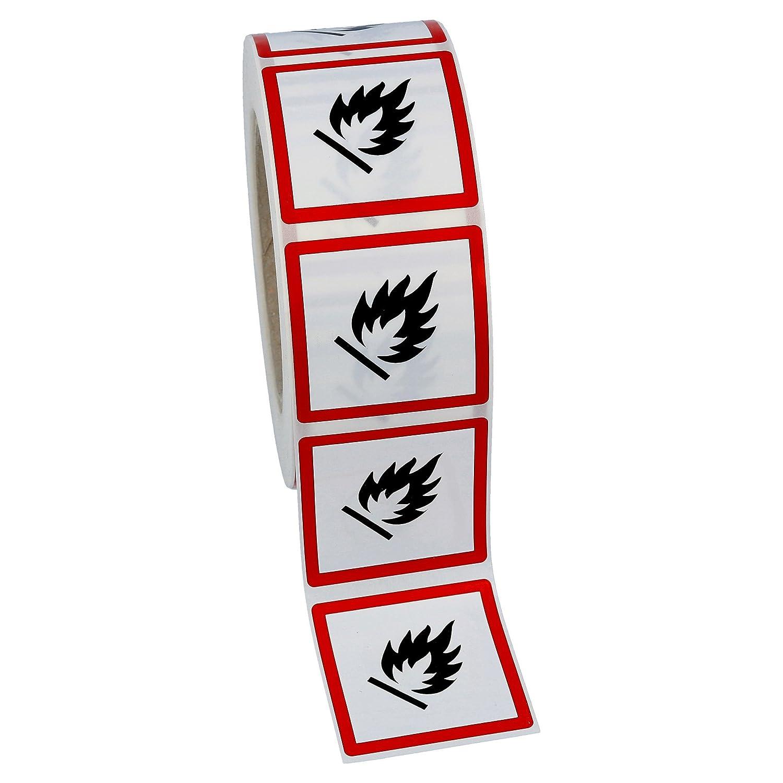 1000 GHS02 Aufkleber Folie 50x50 mm Feuergefährlich Gefahrensymbole