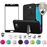Samsung Galaxy J3 Emerge Case, with Full Edged Tempered Glass Screen Protector, Slim Hybrid with [Kickstand] Shock Proof Case Cover (Black/Black)
