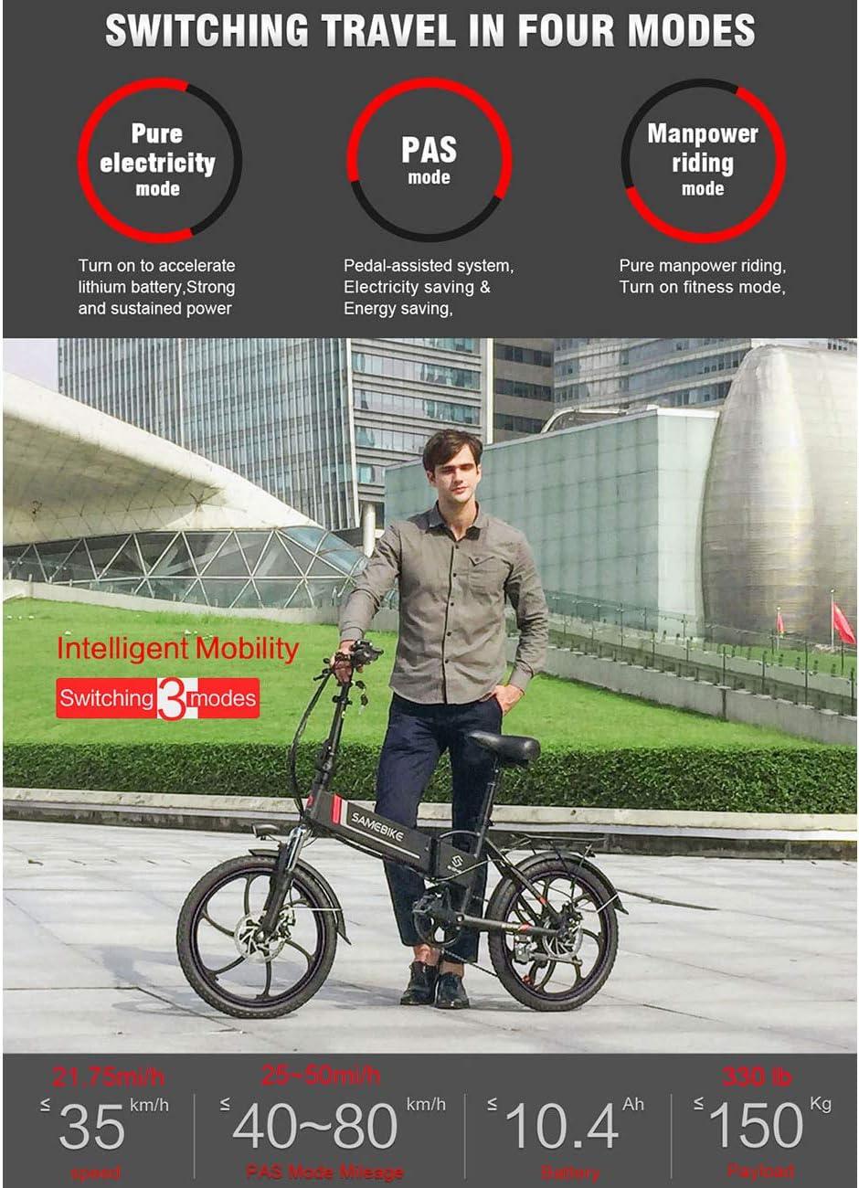Aluminio SAMEBIKE Bicicleta el/éctrica Mando a Distancia 20 Pulgadas Bicicleta el/éctrica Plegable bater/ía de Litio de 48 V Plegable port/átil 10 Ah