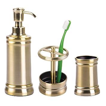 ... Juego de 3 Accesorios para el baño - Porta cepillos de Dientes, dosificador de jabón y Vaso - Fabricados en Acero Resistente - latón: Amazon.es: Hogar